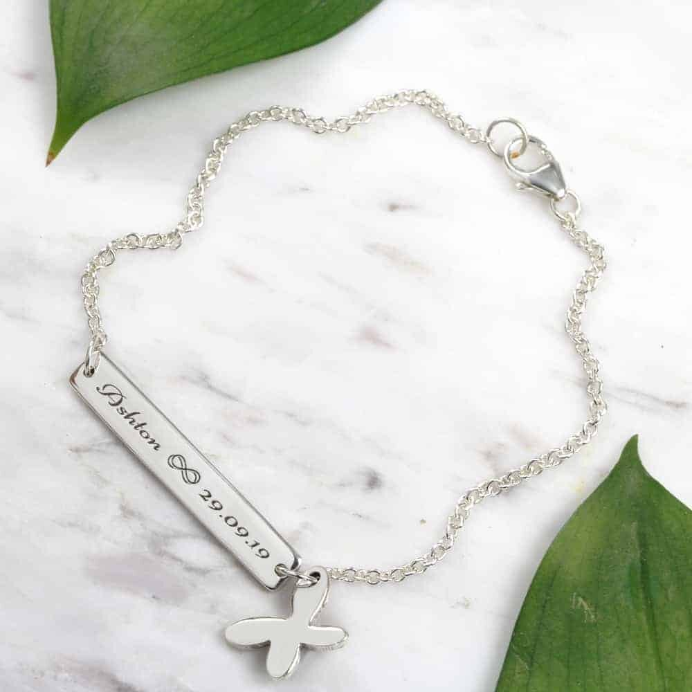 925 Sterling Silver Personalised Bracelet Wide Bar Bracelet With Butterfly Charm