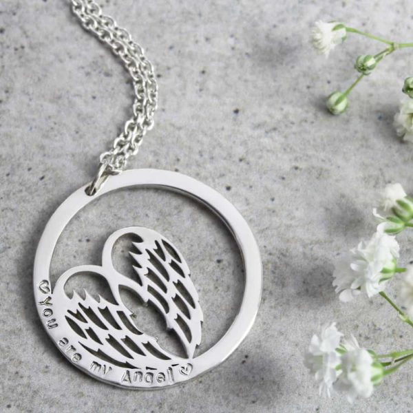 Personalised Necklace Angel Wing Hoop Necklace Silvery Jewellery South Africa