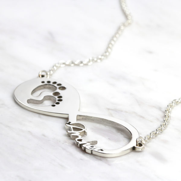 925 Sterling Silver Personalised Necklace Baby Feet Infinity Name Necklace