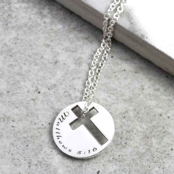 Personalised Necklace Cross Cutout Coin Necklace Silvery Jewellery