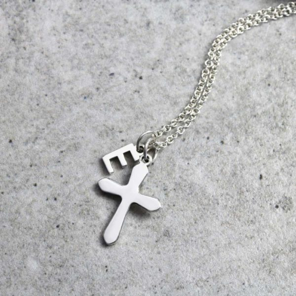 925 Sterling Silver Cutout Initial & Cross Necklace