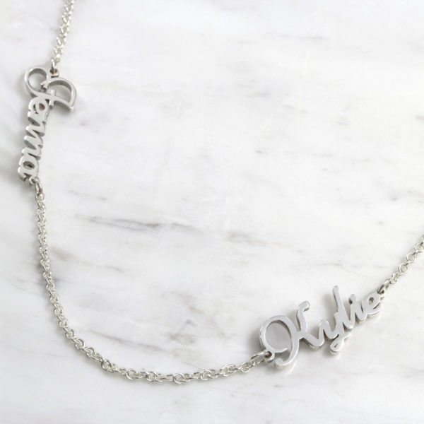 925 Sterling Silver Dainty Double Name Necklace