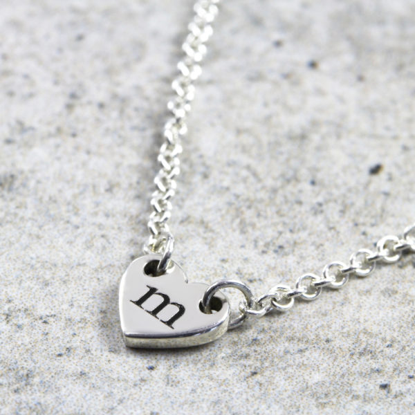 Personalised Necklace Dainty Heart Initial Necklace Silvery Jewellery