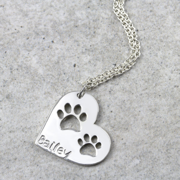 Personalised Necklace Double Paw Print Heart Necklace Silvery Jewellery