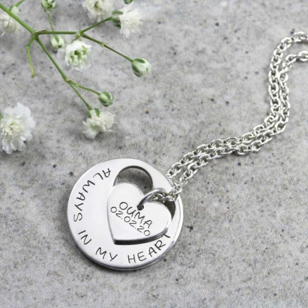 Personalised Necklace Engraved Heart Cutout Necklace Silvery Jewellery