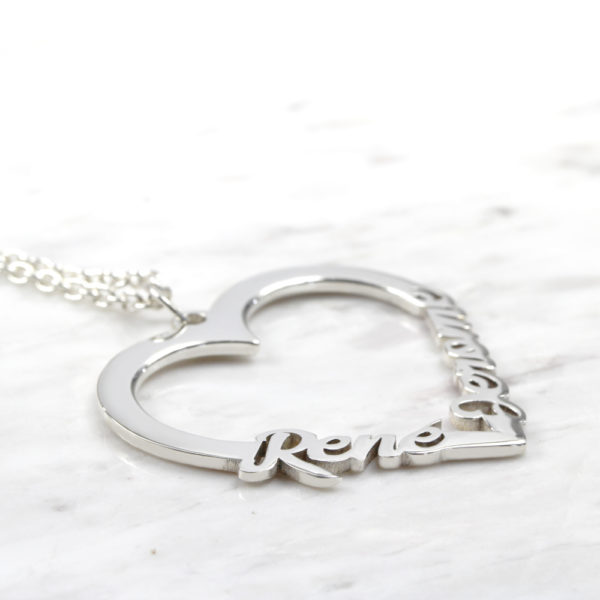 925 Sterling Silver Personalised Necklace Family Heart Name Necklace