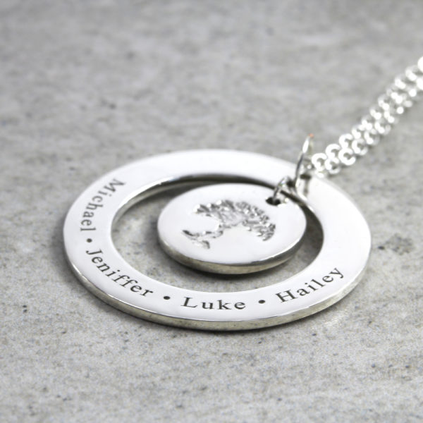 Personalised Necklace Family Tree Necklace Silvery Jewellery