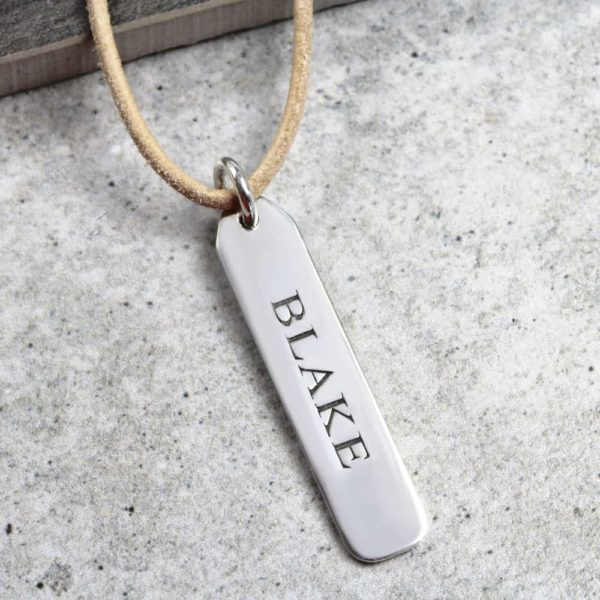 925 Sterling Silver Engraved Leather Tag Necklace