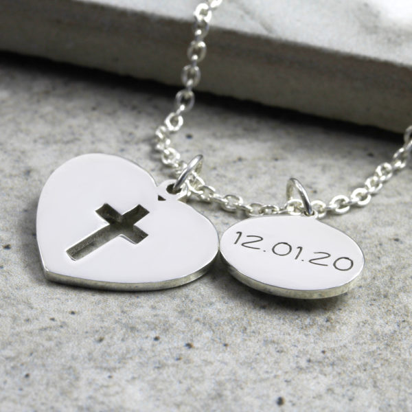 Personalised Necklace Heart & Date Cross Necklace Silvery Jewellery