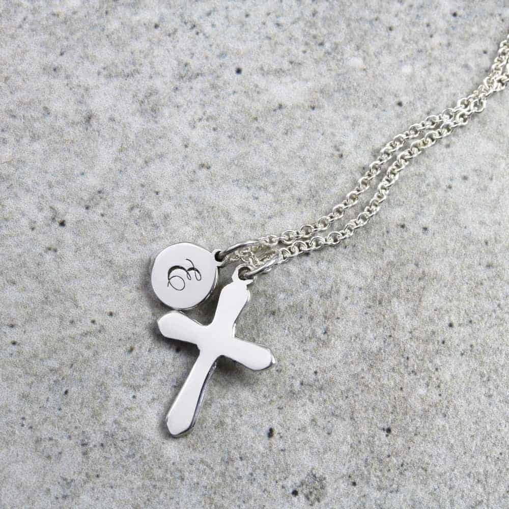 Personalised Necklace Initial Cross Necklace Silvery Jewellery
