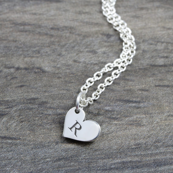 Personalised Necklace Initial Heart Necklace Silvery Jewellery South Africa