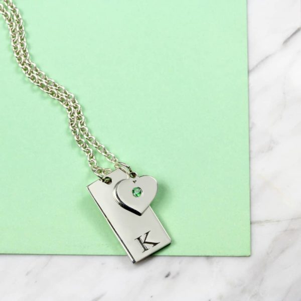 925 Sterling Silver Initial Tag & Birthstone Necklace