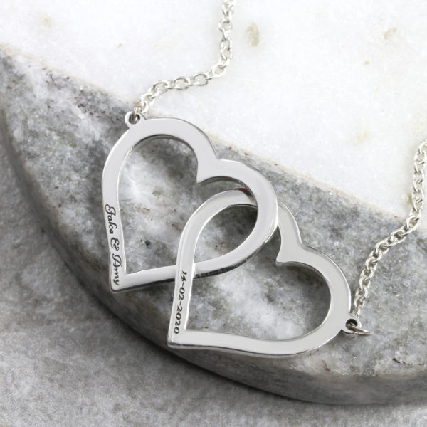 Personalised Necklace Interlinked Open Heart Necklace Silvery Jewellery