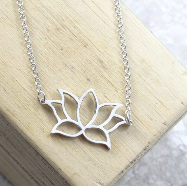 Personalised Necklace Lotus Flower Necklace Silvery Jewellery