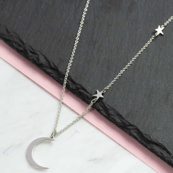 925 Sterling Silver Moon & Star Necklace