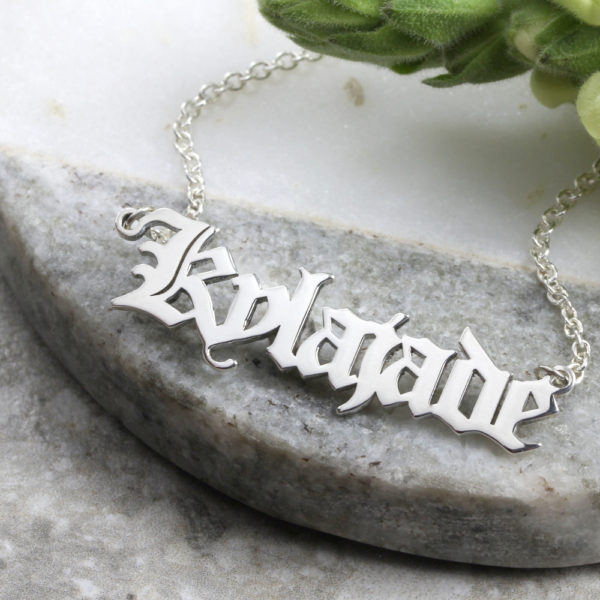 Personalised Necklace Old English Name Necklace Silvery Jewellery