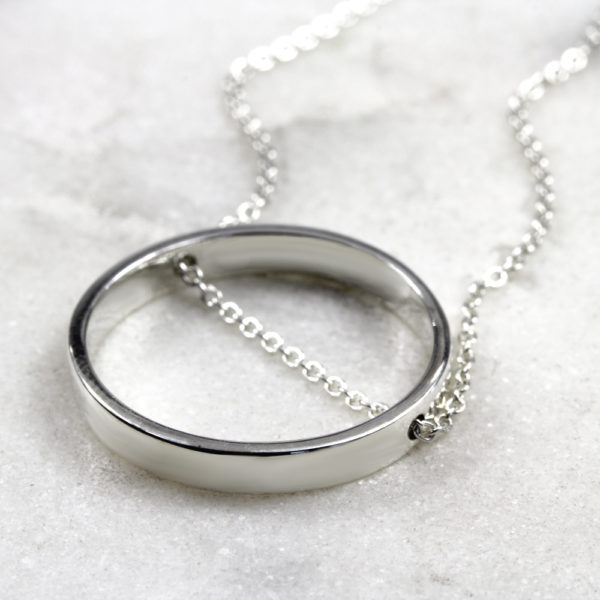 Personalised Necklace Ring Chain Necklace Silvery Jewellery