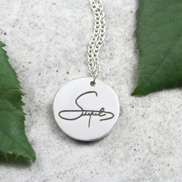Personalised Necklace Signature Coin Pendant Necklace Silvery Jewellery