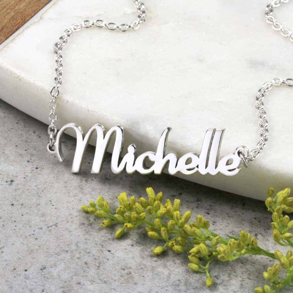 Simple Silver Dainty Chain Cubic Zirconia Double O Ring Pendant Necklace Gold Cotton Filled Gift Box for Free