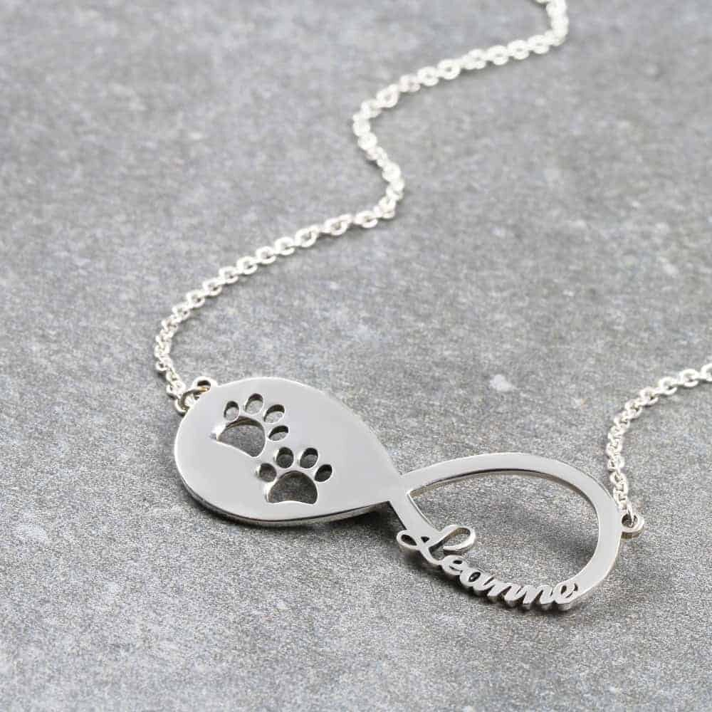 Paw Print Infinity Name Necklace