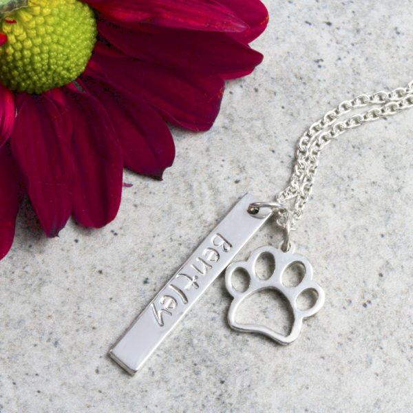 Personalised Paw Print Necklace Silvery Jewellery South Africa