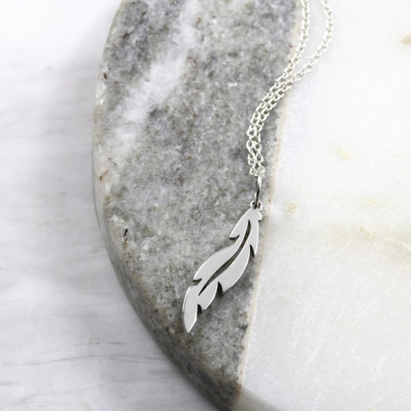 Small Feather Necklace Silvery Jewellery South Africa