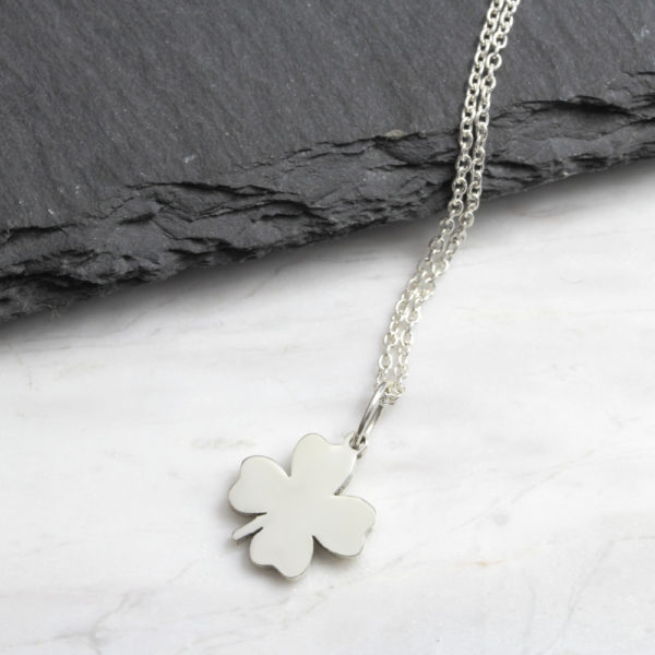 Small Lucky Clover Necklace Silvery Jewellery