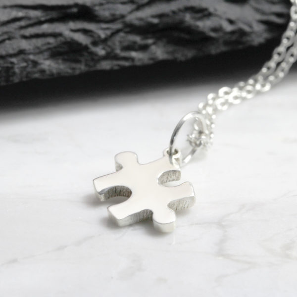 Small Puzzle Piece Necklace Silvery Jewellery