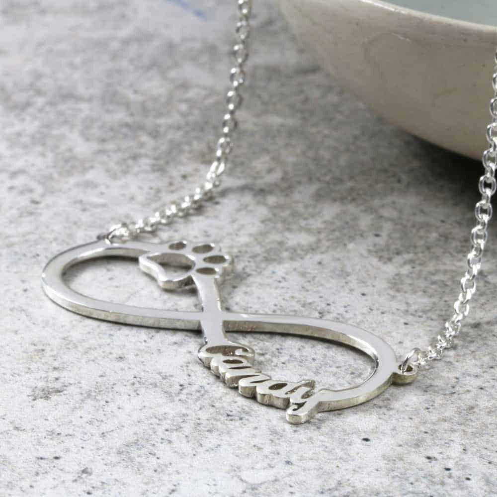 925 Sterling Silver Paw Infinity Necklace