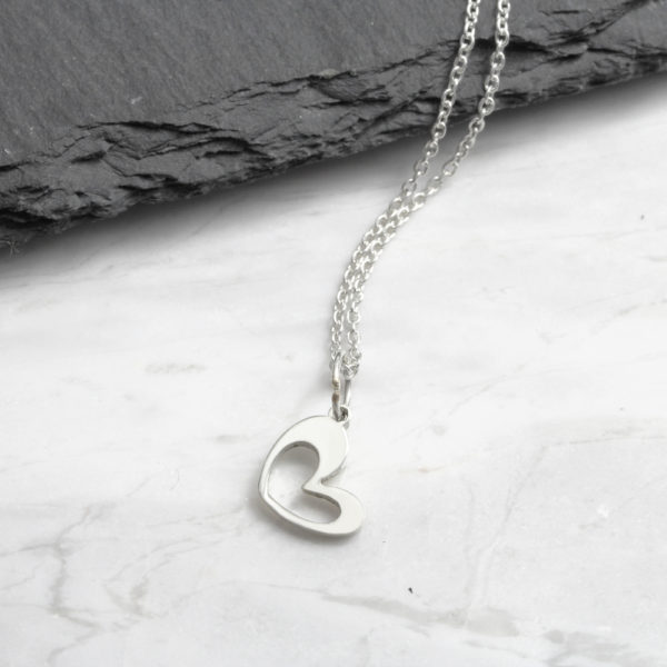 small Heart Cutout Necklace Silvery Jewellery
