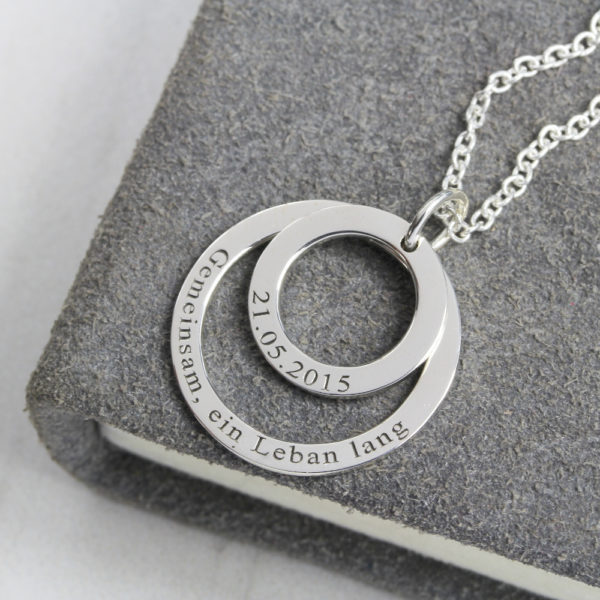 Double Hoop Necklace with engraving by silvery jewellery in south africa