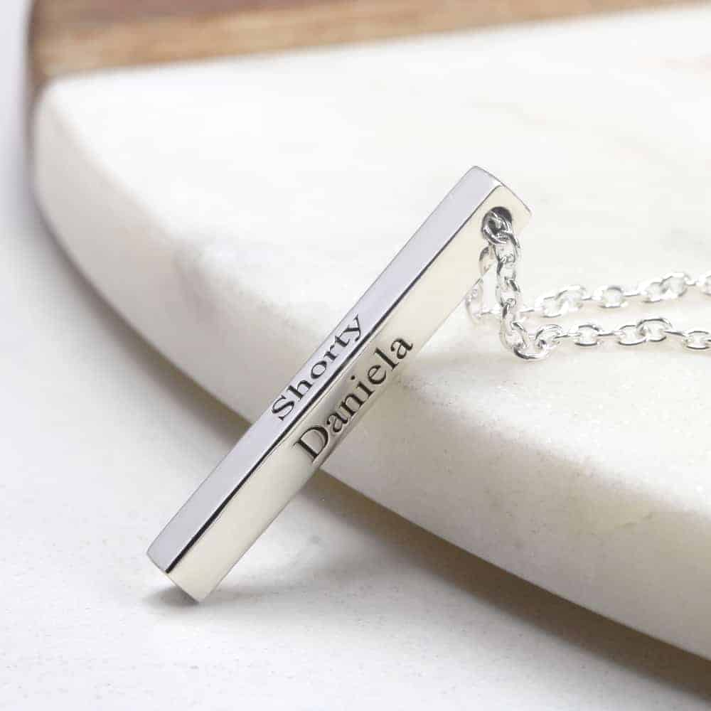 Personalised Bar Necklace with engraving by silvery jewellery in south africa