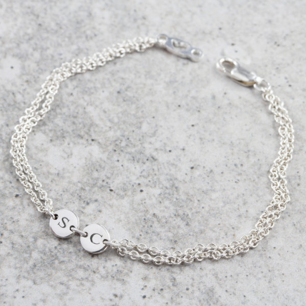 Personalised bracelet by silvery jewellery in south africa twin coin connector