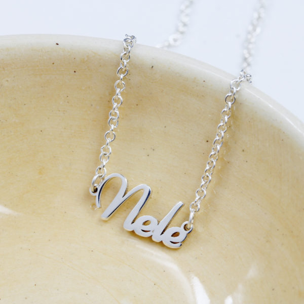 Sterling Silver Dainty Name Necklace by silvery jewellery in south africa