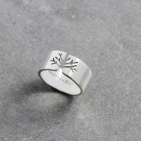 Family tree ring personalised ring silvery jewellery australia