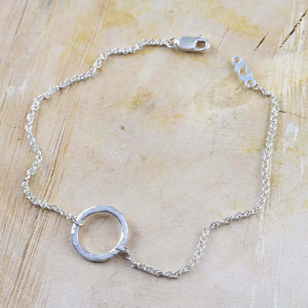 Sterling Silver Chain Silver Hammered Infinity Anklet Silver Plated Charm Minimalist Jewelry Infinity Silver Ankle Bracelet