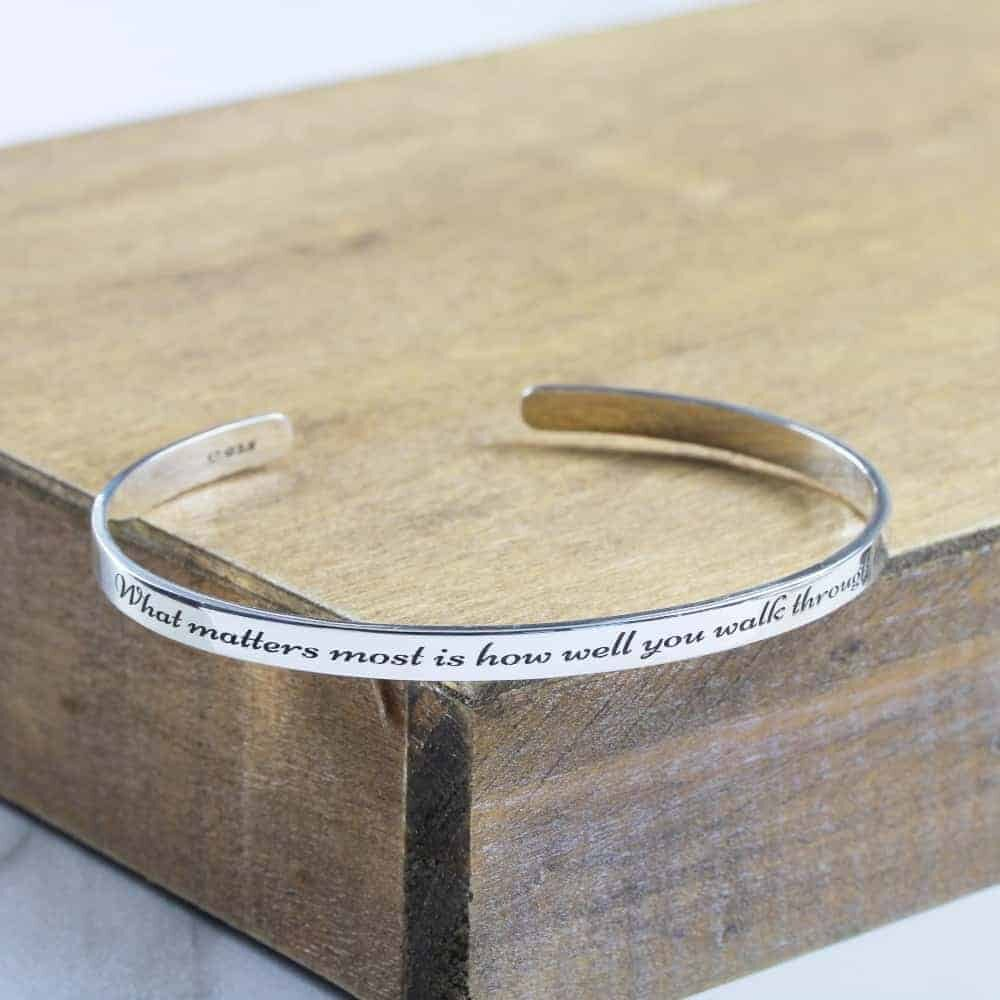 Personalised Bangle 925 Sterling Silver Bangle for Men Engraved Bangle Narrow Mens Cuff Bangle By Silvery Jewellery South Africa