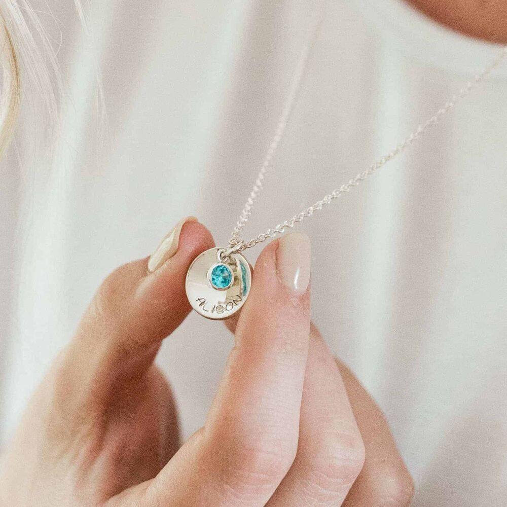 Personalised Dished Coin & Birthstone Necklace lifestyle personalised necklace