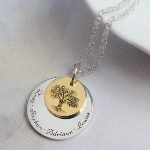 9ct gold family tree necklace in south africa by silvery jewellery