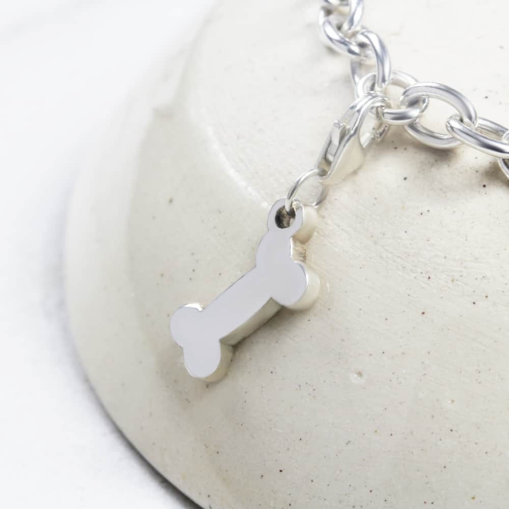 Dog Bone Charm Silver charms for bracelets by silvery south africa