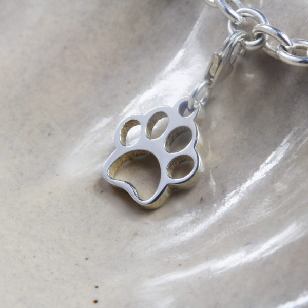 Dog Paw Charm Silver charms for bracelets by silvery south africa