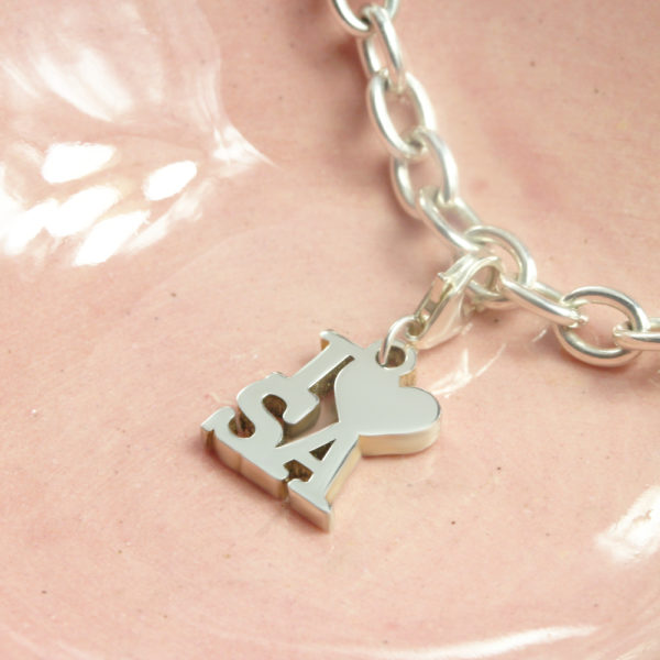 I Love SA Charm Silver charms for bracelets by silvery south africa