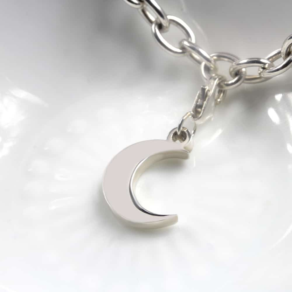 Moon Charm Silver charms for bracelets by silvery south africa