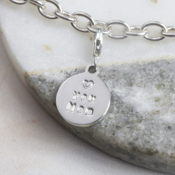 hand stamped personalised charm by silvery jewellery in south africa