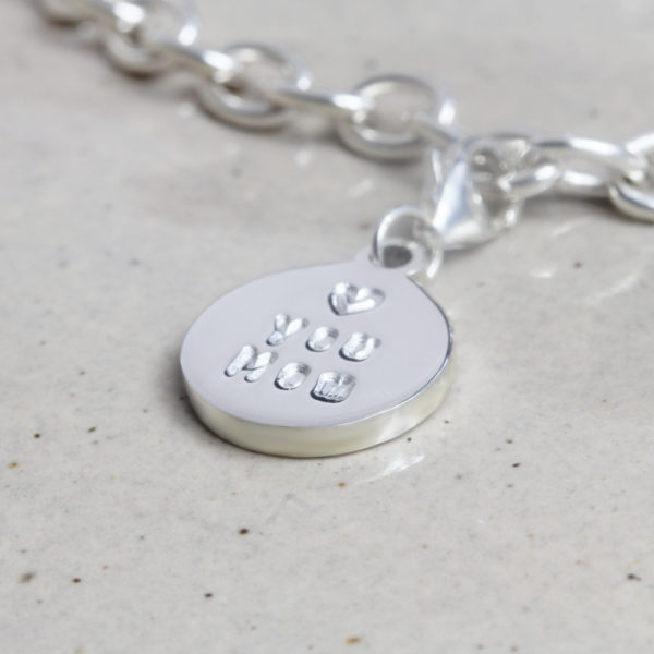 personalised 13mm coin charm engraved charm by silvery jewellery