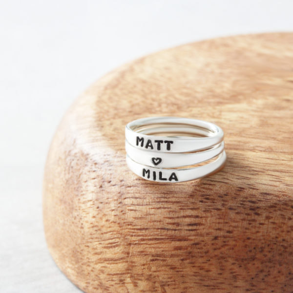 Sterling Silver personalised rings identity rings by silvery jewellery