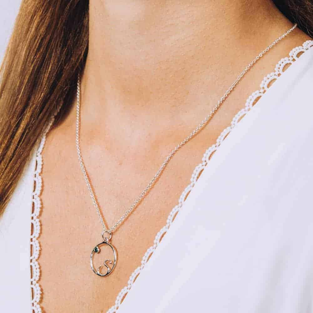 Round Initial Birthstone Necklace - Perspective Image