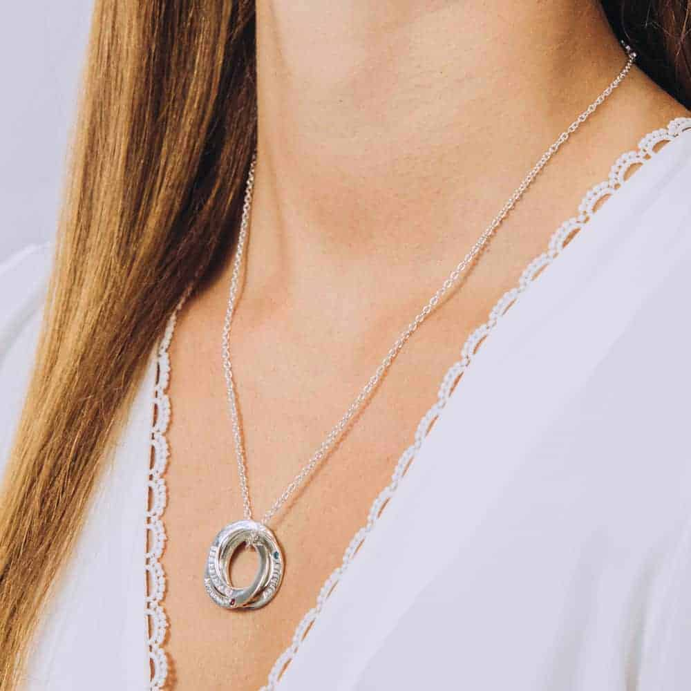 Interlinked Triple Washer Birthstone Necklace - Perspective Image