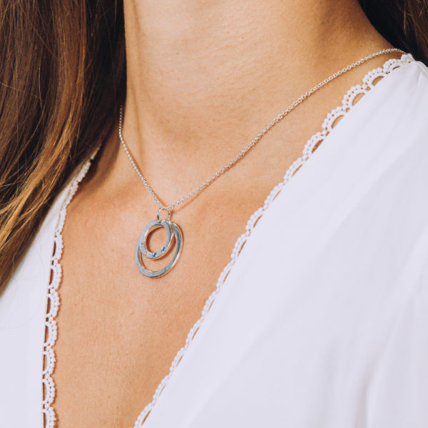 Double Hoop Birthstone and Name Necklace - Perspective Image
