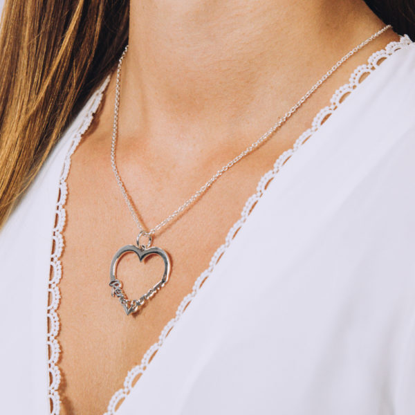 Family Heart Name Necklace - Perspective Image